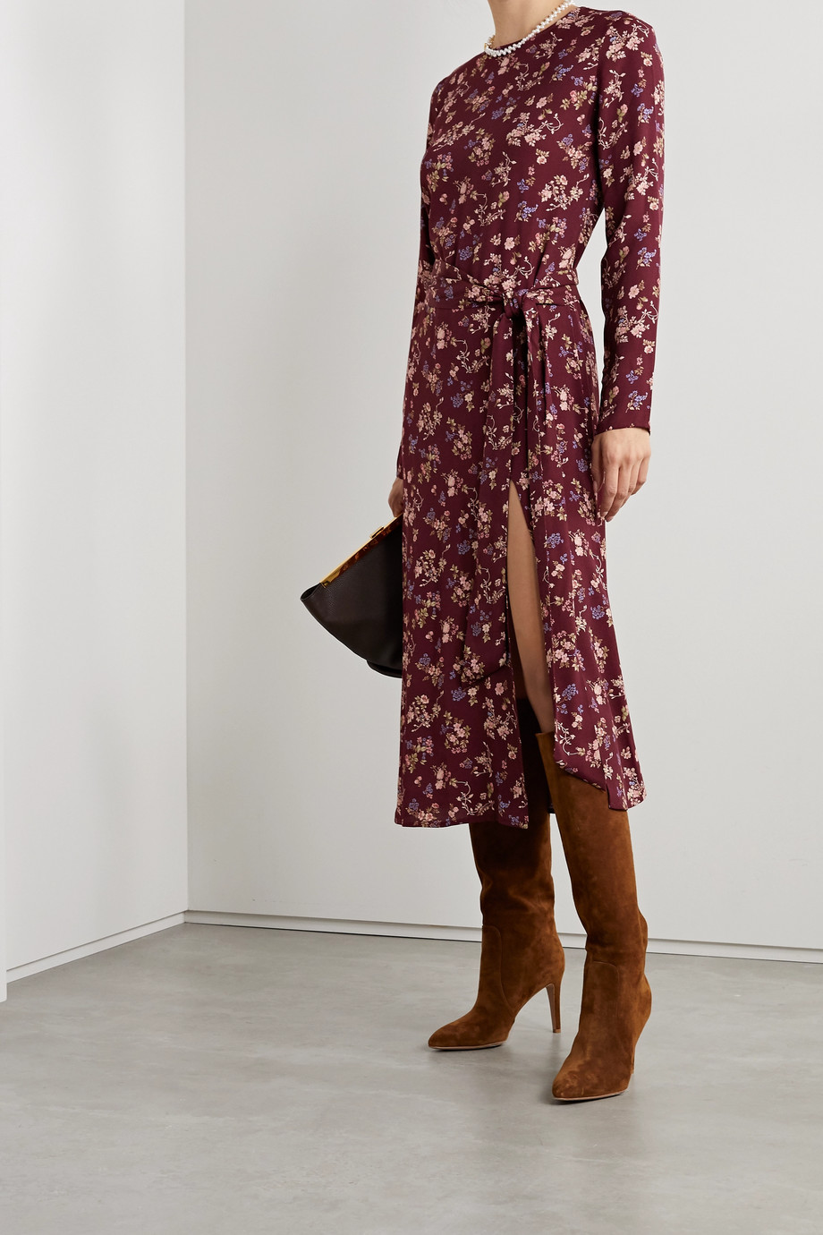 Reformation + NET SUSTAIN Jeana belted floral-print crepe midi dress
