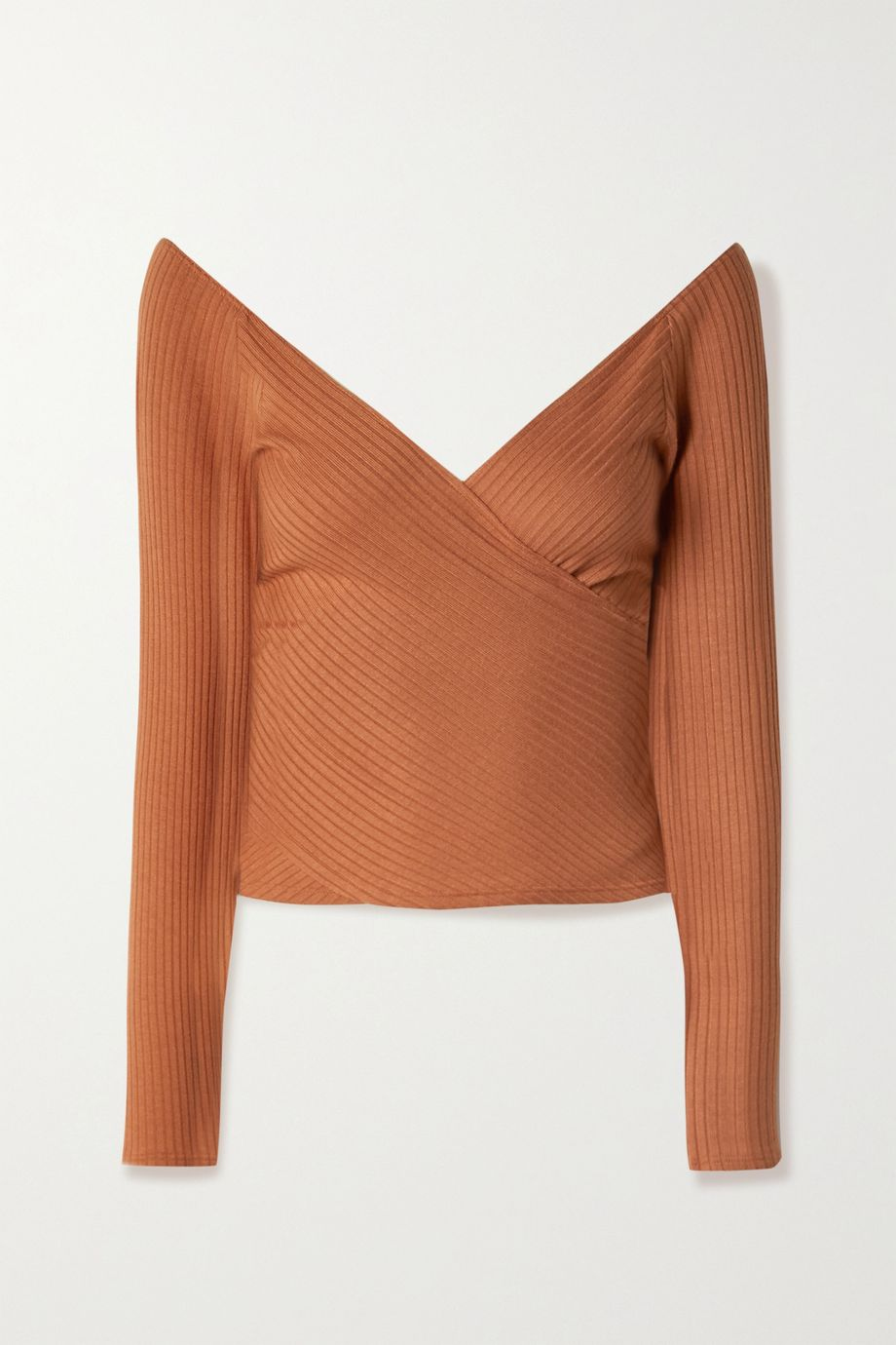Reformation Minnie wrap-effect ribbed stretch-TENCEL Lyocell top