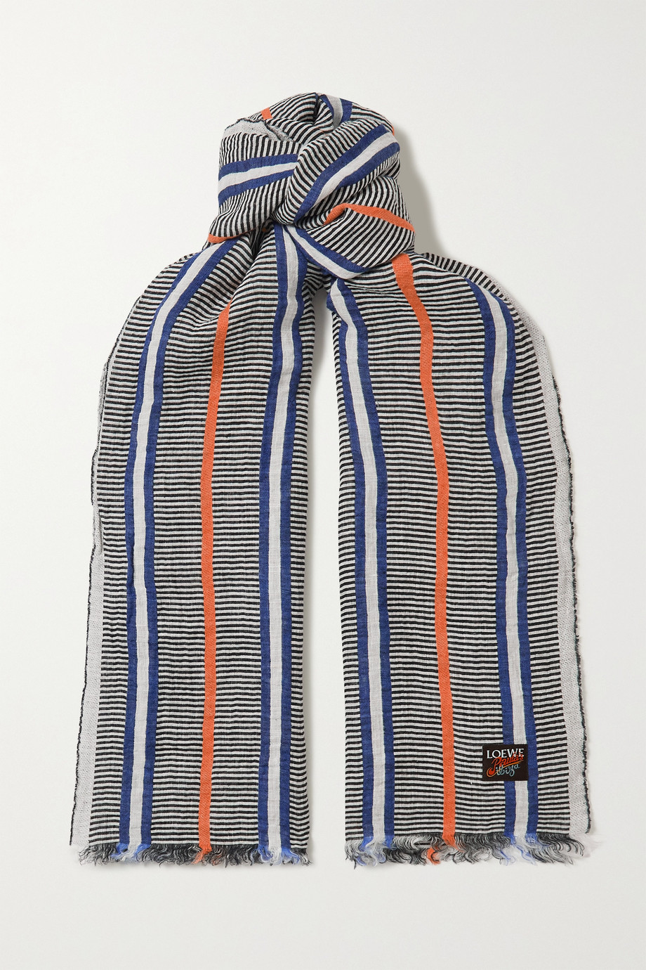 Loewe + Paula's Ibiza fringed striped linen scarf