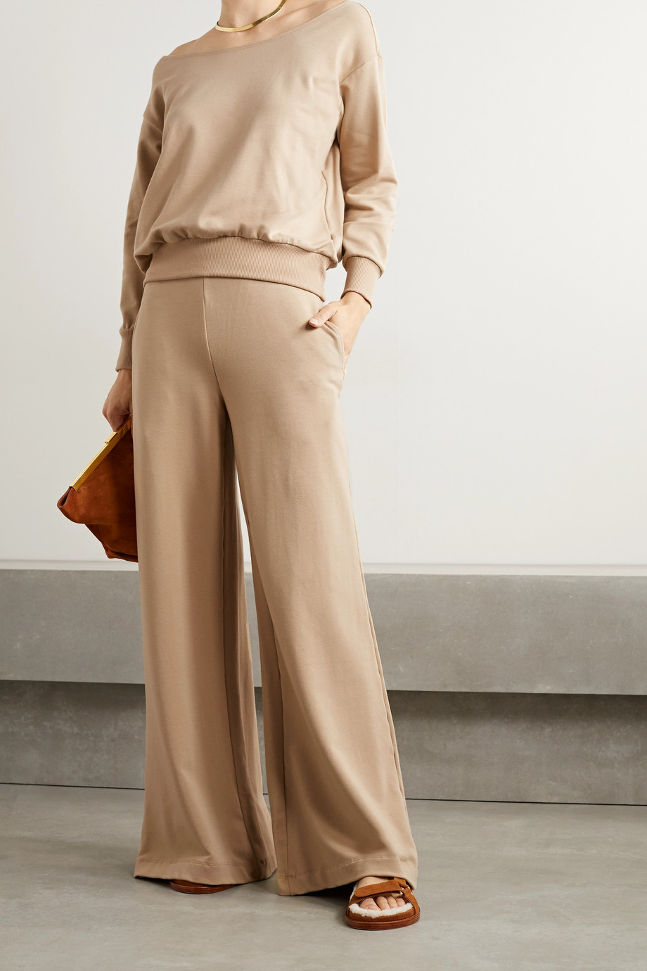 L'Agence Campbell stretch cotton and modal-blend wide-leg pants