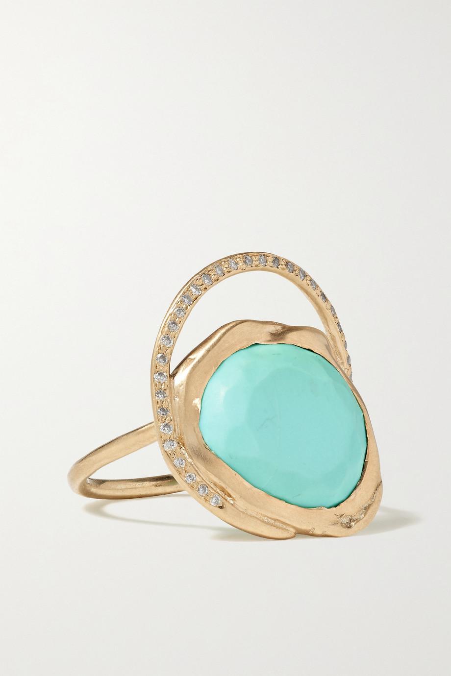 Pascale Monvoisin Gaia 9-karat gold, turquoise and diamond ring
