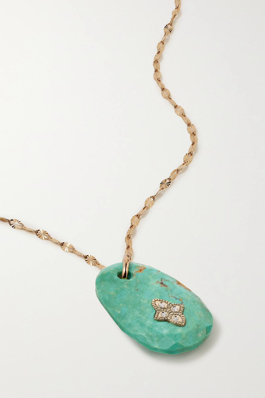 Pascale Monvoisin Gaia N°1 9 and 14-karat gold, turquoise and diamond necklace