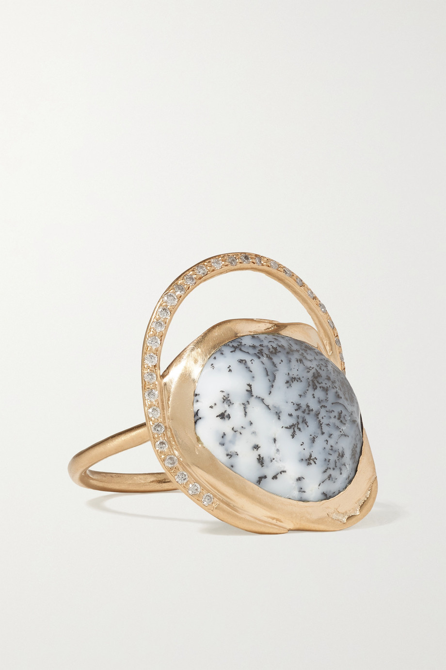 Pascale Monvoisin Gaia 9-karat gold, agate and diamond ring