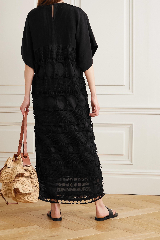 Loewe + Paula's Ibiza embellished crocheted cotton and poplin dress