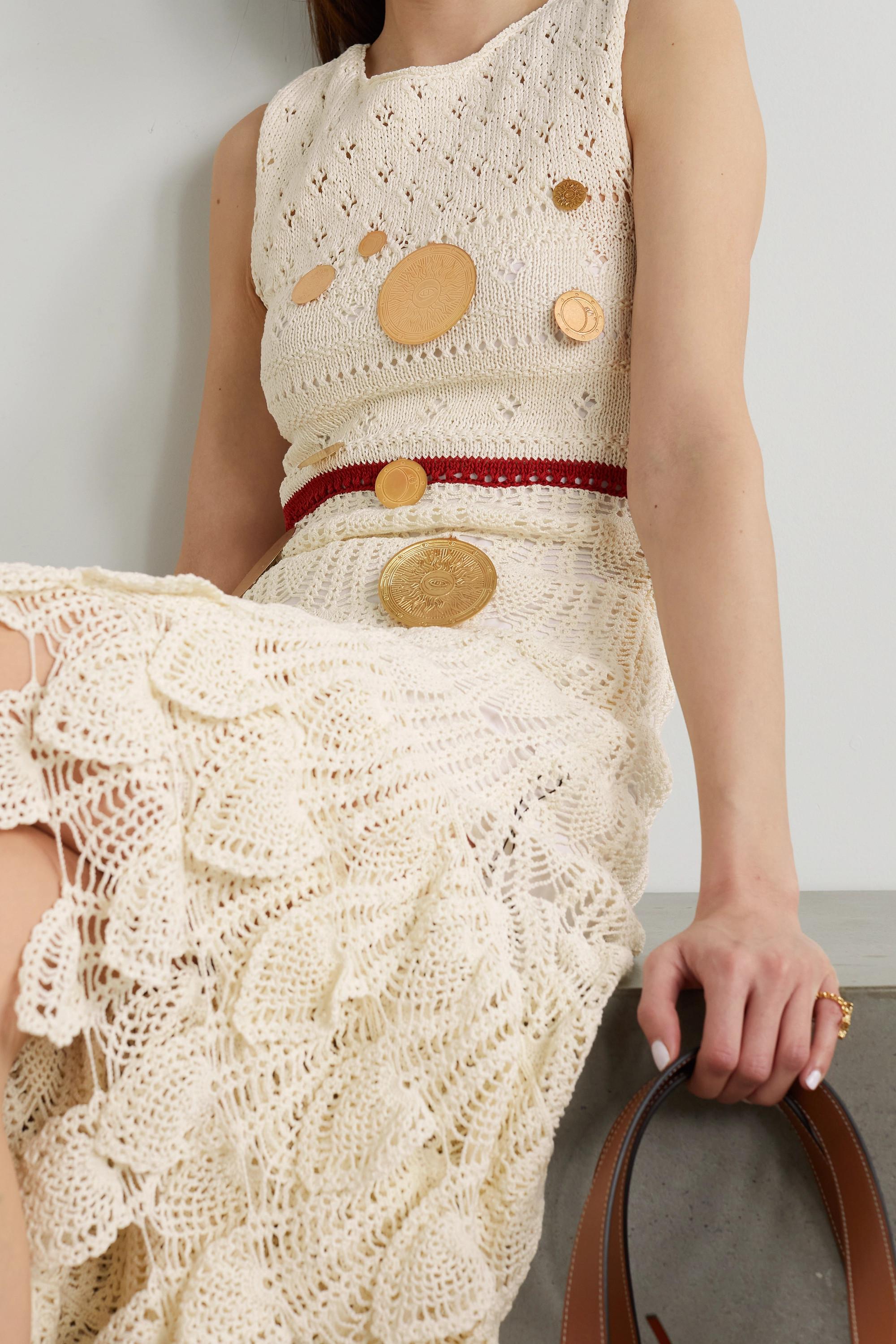 Loewe + Paula's Ibiza asymmetric embellished crocheted cotton-blend midi dress