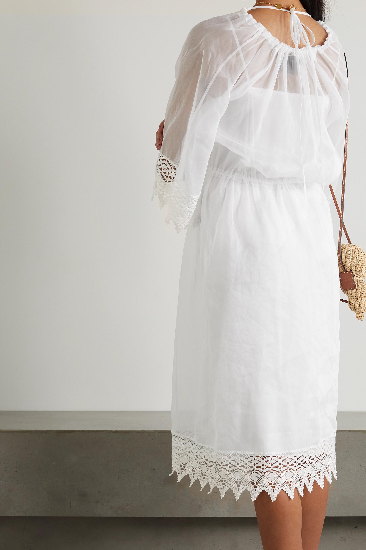 Loewe Macramé-trimmed cotton-organza midi dress