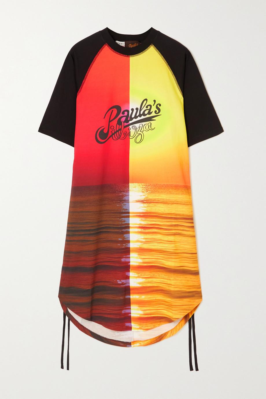 Loewe Robe en jersey de coton imprimé à fronces Sunset x Paula's Ibiza