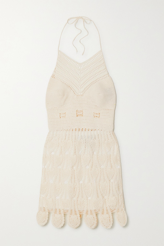 Loewe Crocheted cotton halterneck mini dress