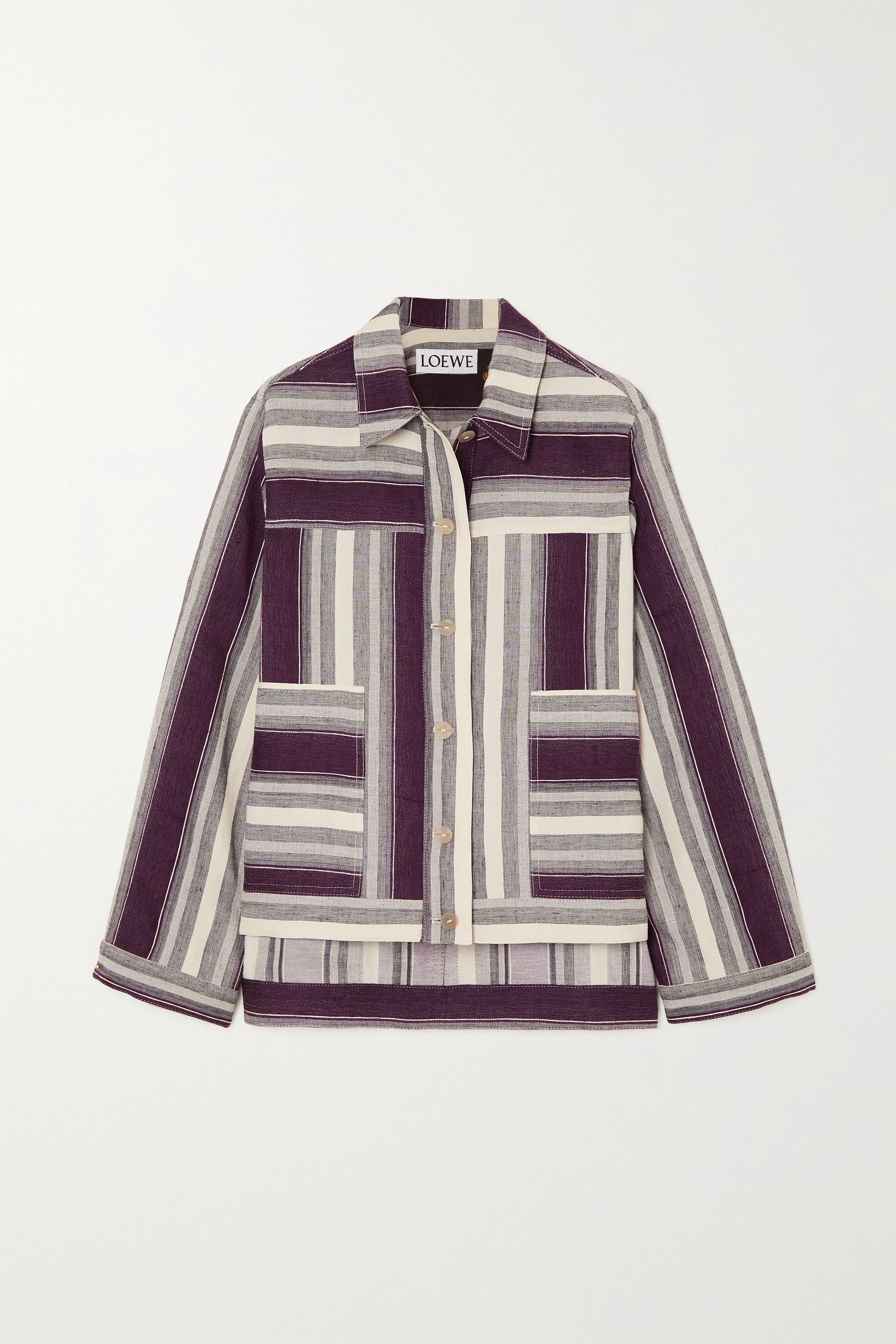 Loewe Striped linen and cotton-blend jacket