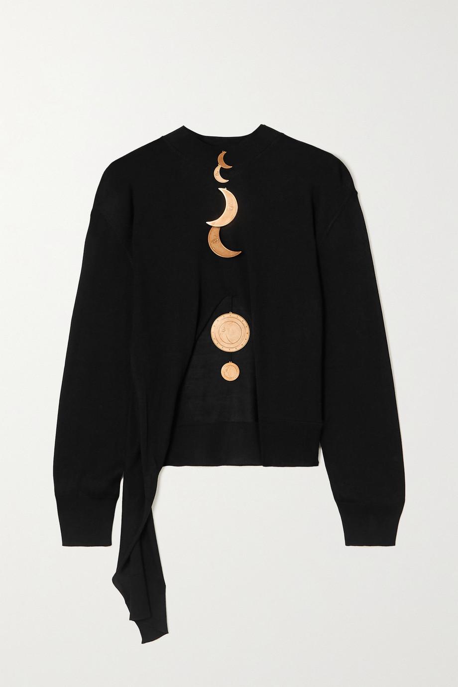 Loewe + Paula's Ibiza asymmetric embellished silk sweater
