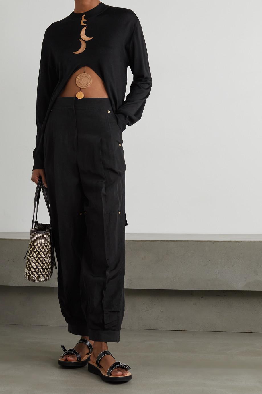 Loewe + Paula's Ibiza asymmetrischer Pullover aus Seide mit Verzierungen