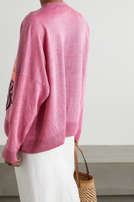 Loewe + Paula's Ibiza Oversized-Pullover aus Jacquard-Strick aus einer Leinenmischung