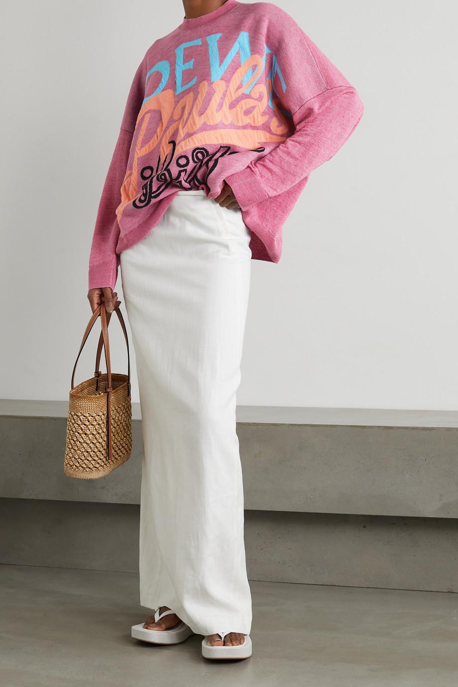 Loewe + Paula's Ibiza oversized jacquard-knit linen-blend sweater