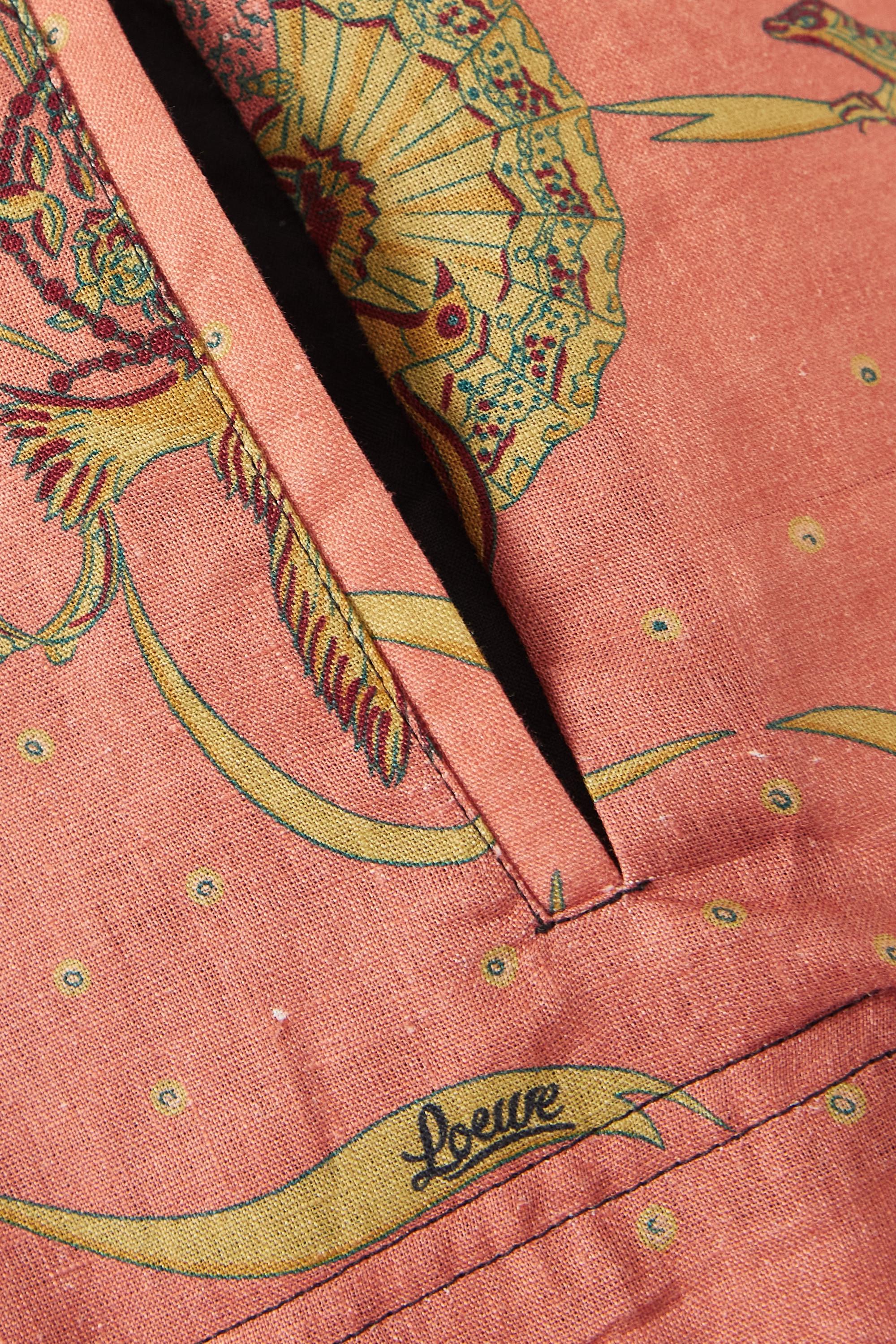 Loewe + Paula's Ibiza belted printed linen and cotton-blend wide-leg pants