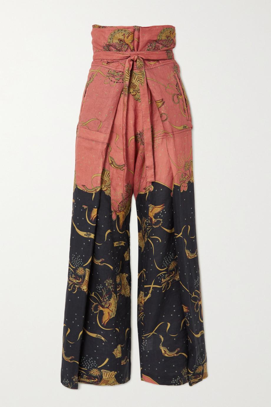Loewe + Paula's Ibiza Hose mit weitem Bein aus einer bedruckten Leinen-Baumwollmischung mit Bindegürtel