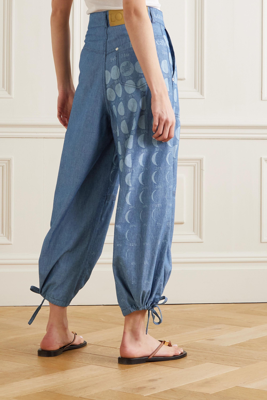 Loewe + Paula's Ibiza printed cotton-chambray wide-leg pants