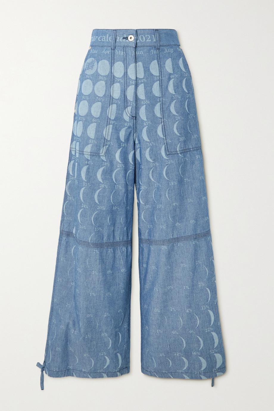 Loewe + Paula's Ibiza Hose mit weitem Bein aus bedrucktem Baumwoll-Chambray