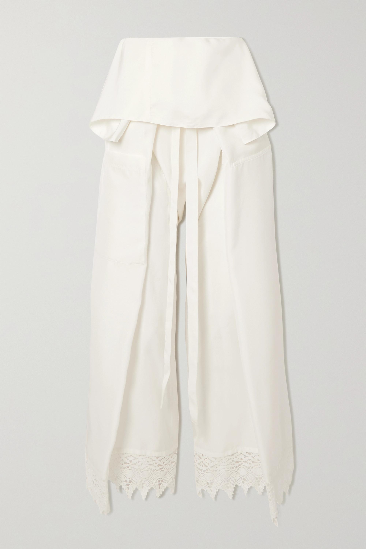 Loewe Belted macramé-trimmed silk wide-leg pants
