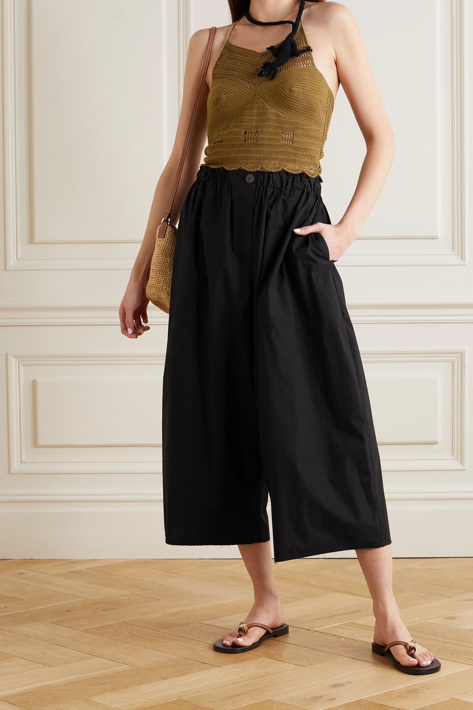 Loewe + Paula's Ibiza cropped cotton wide-leg pants