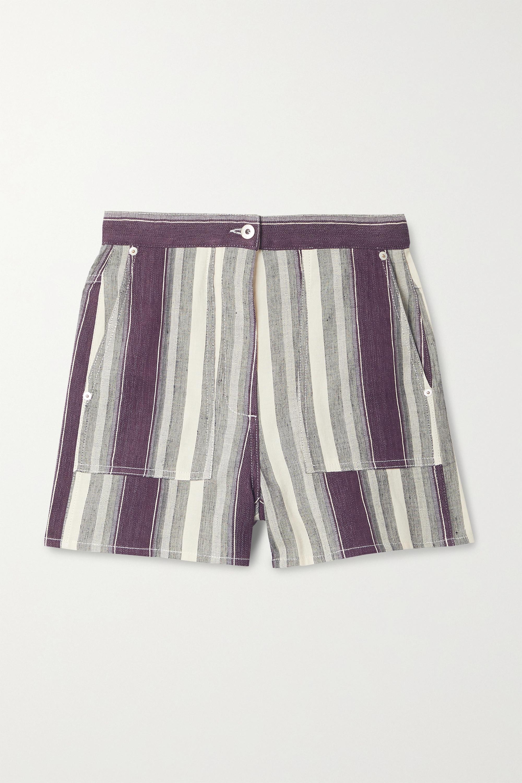 Loewe + Paula's Ibiza striped linen and cotton-blend shorts