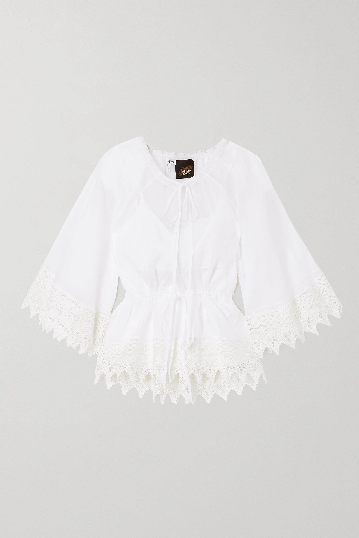 Loewe + Paula's Ibiza macramé-trimmed cotton-organza blouse
