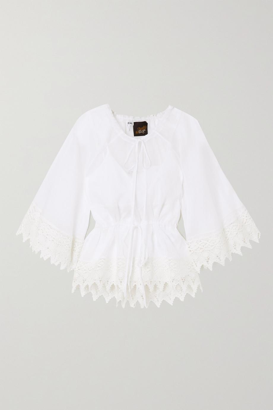 Loewe + Paula's Ibiza Bluse aus Baumwollorganza mit Besätzen aus Makrameegarn