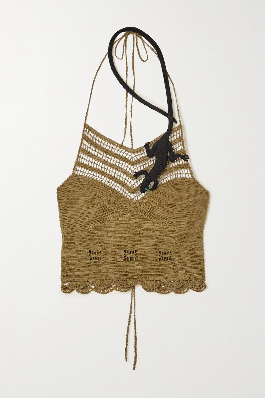 Loewe +Paula's Ibiza Neckholder-Oberteil aus Häkelstrick aus Baumwolle