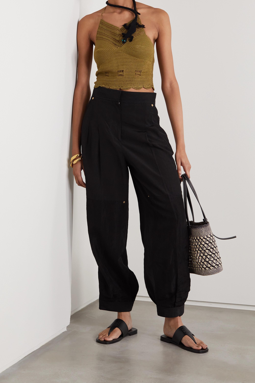 Loewe +Paula's Ibiza crochet-knit cotton halterneck top