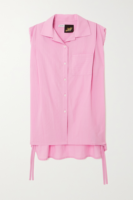 Loewe + Paula's Ibiza tie-detailed frayed cotton blouse