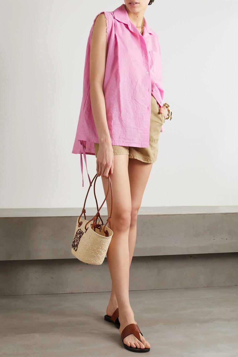 Loewe + Paula's Ibiza Bluse aus Baumwolle mit Fransen zum Binden