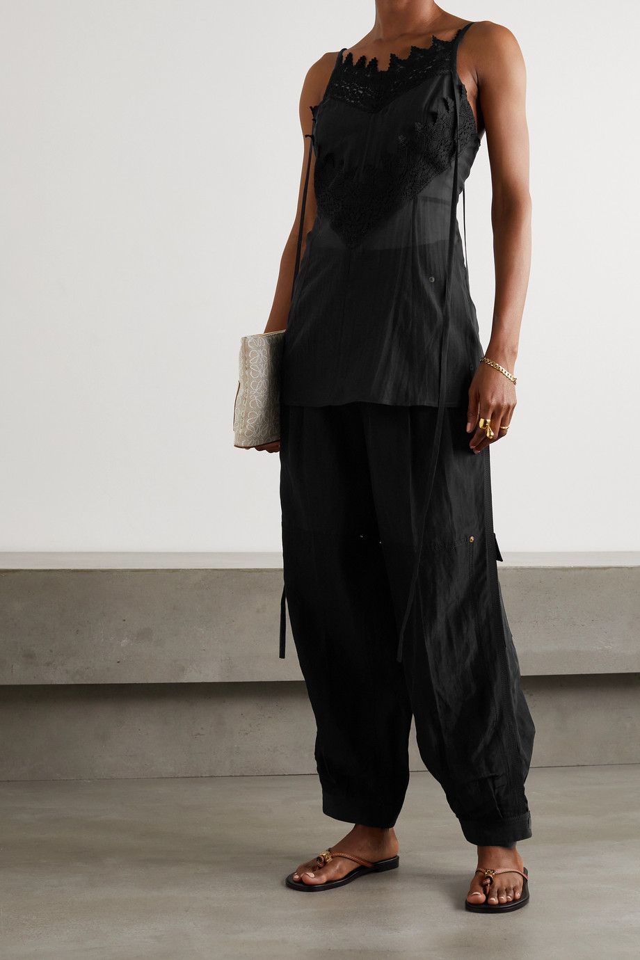 Loewe Crocheted lace-trimmed cotton and silk-blend voile camisole