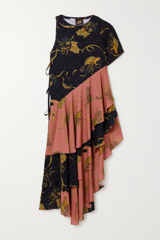 Loewe + Paula's Ibiza asymmetric ruffled printed crepe dress