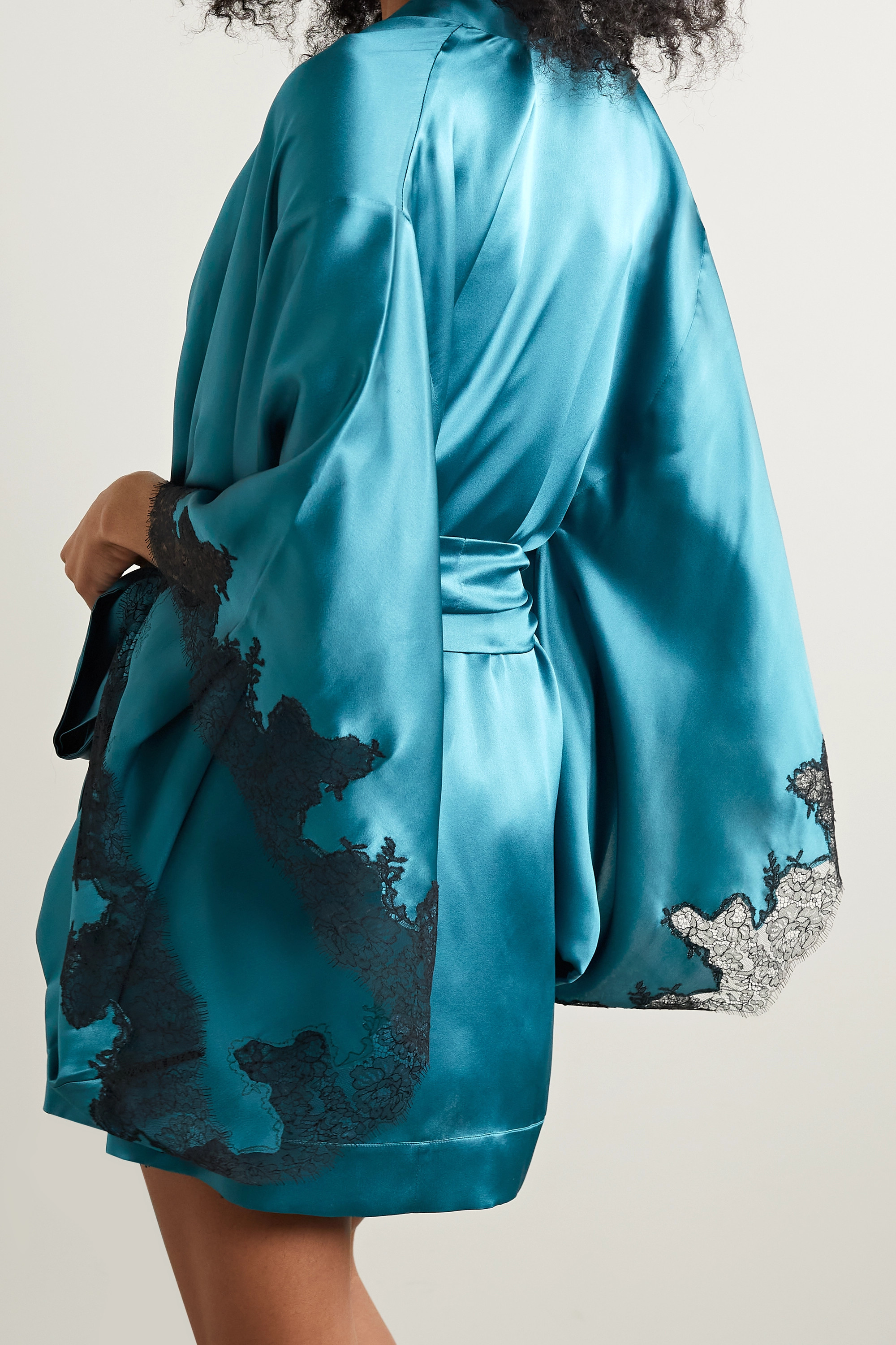 Carine Gilson Belted silk-satin and Chantilly lace robe