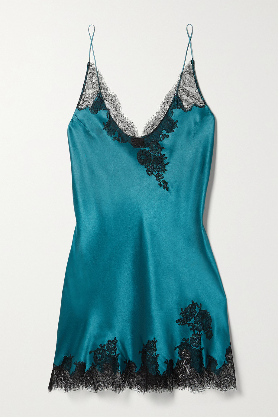 Carine Gilson Silk-satin and Chantilly lace chemise