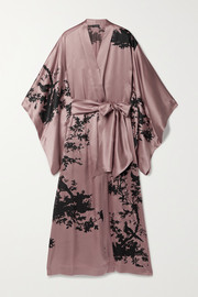 Carine Gilson Belted printed silk-satin robe