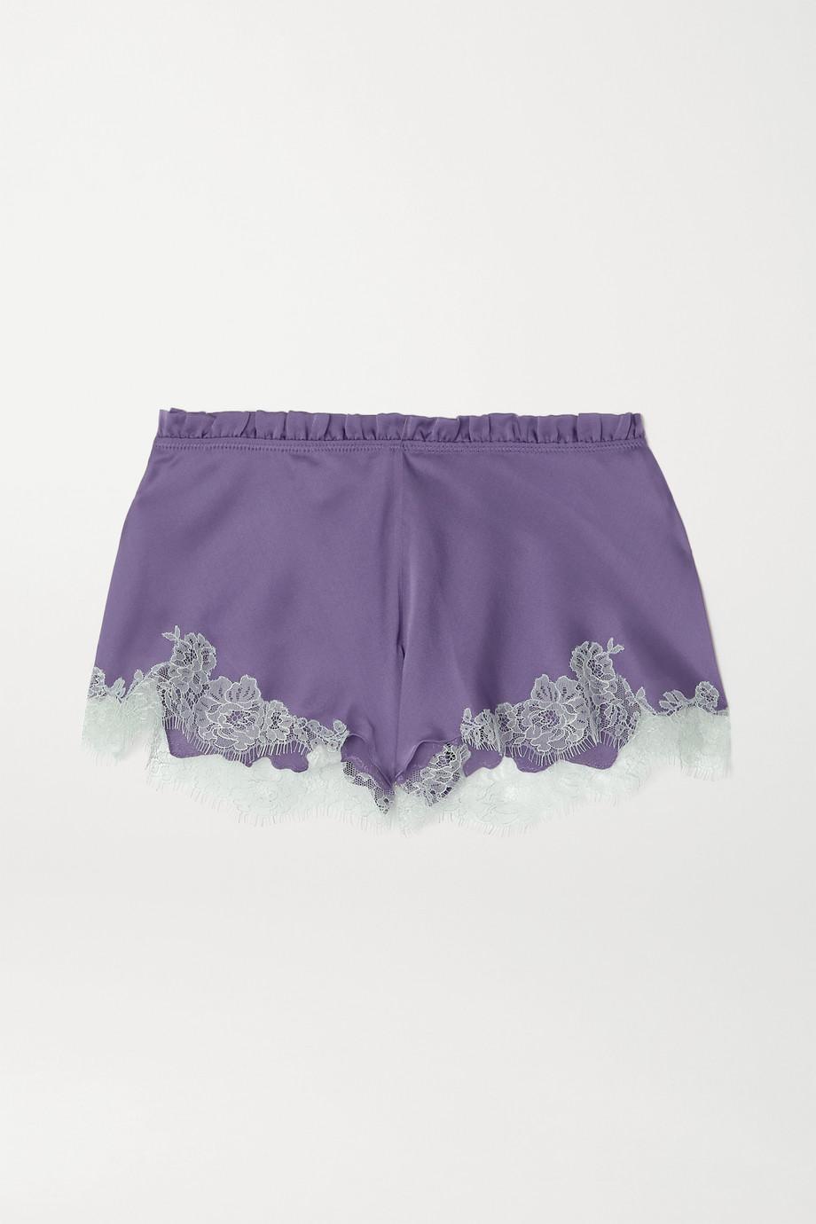 Carine Gilson Silk-satin and Chantilly lace shorts