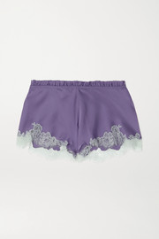 Carine Gilson Silk-satin and Chantilly lace shorts