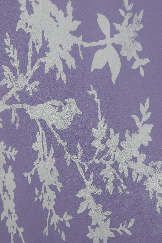 Carine Gilson Nachthemd aus bedrucktem Seidensatin mit Spitzenbesätzen