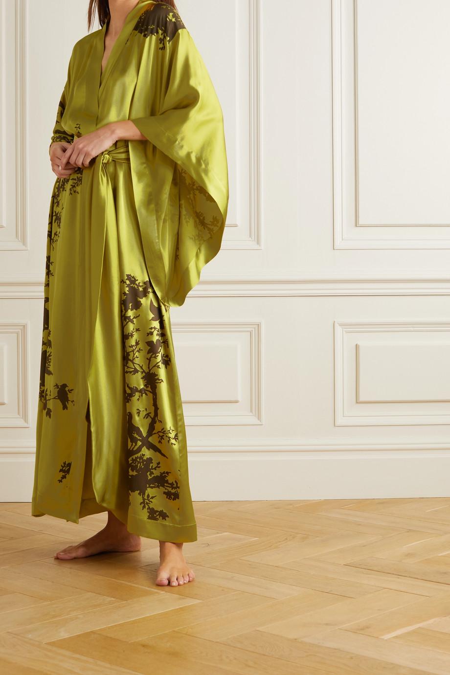 Carine Gilson Kimono en satin de soie imprimé à ceinture