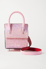 Christian Louboutin Paloma Nano crystal-embellished suede, leather and rubber shoulder bag