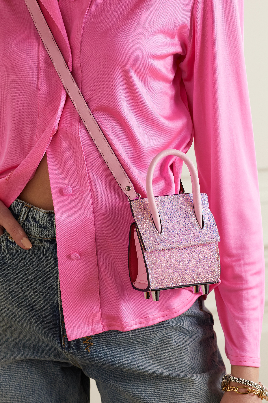 Christian Louboutin Paloma Nano crystal-embellished suede, leather and rubber shoulder bag