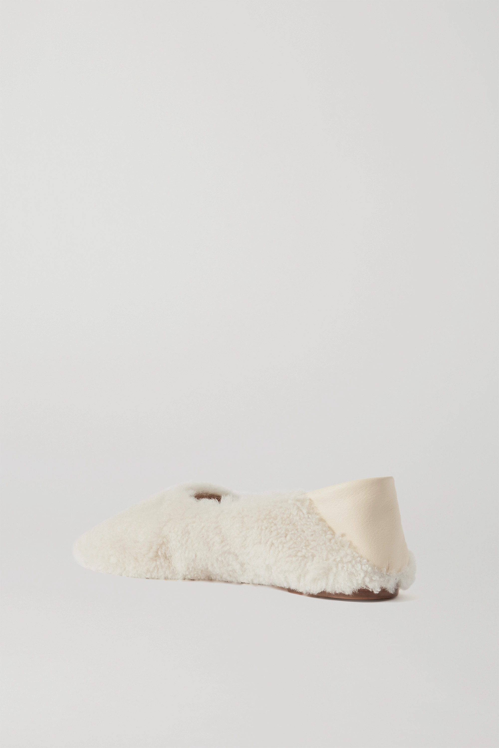 Porte & Paire Shearling and leather collapsible-heel loafers