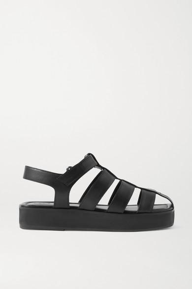 Porte & Paire Leather Sandals In Black