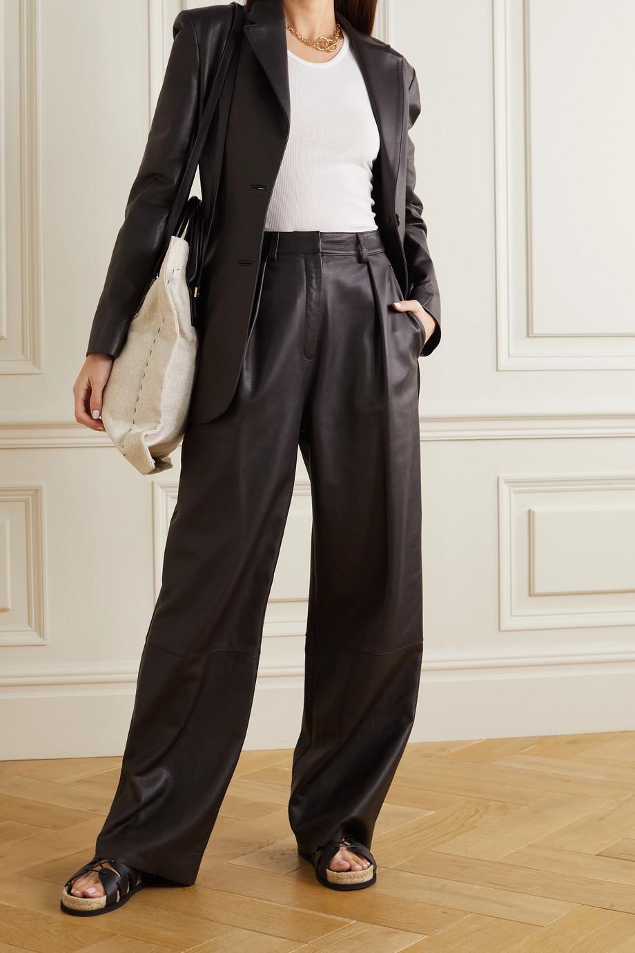 Michael Lo Sordo Boy pleated leather wide-leg pants