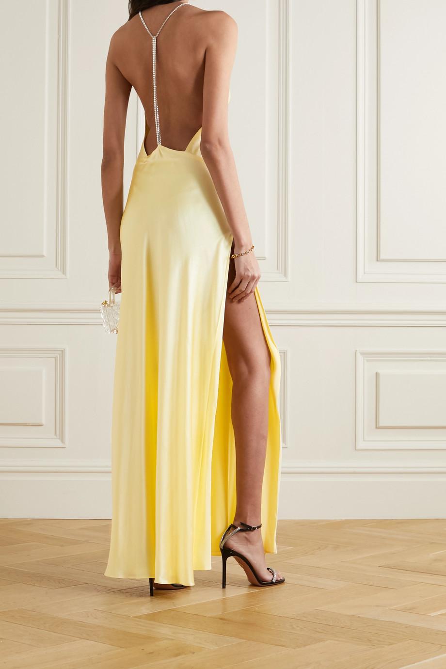 Michael Lo Sordo Hudson crystal-embellished open-back silk-satin maxi dress