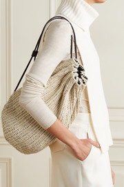 The Row Massimo leather-trimmed raffia backpack