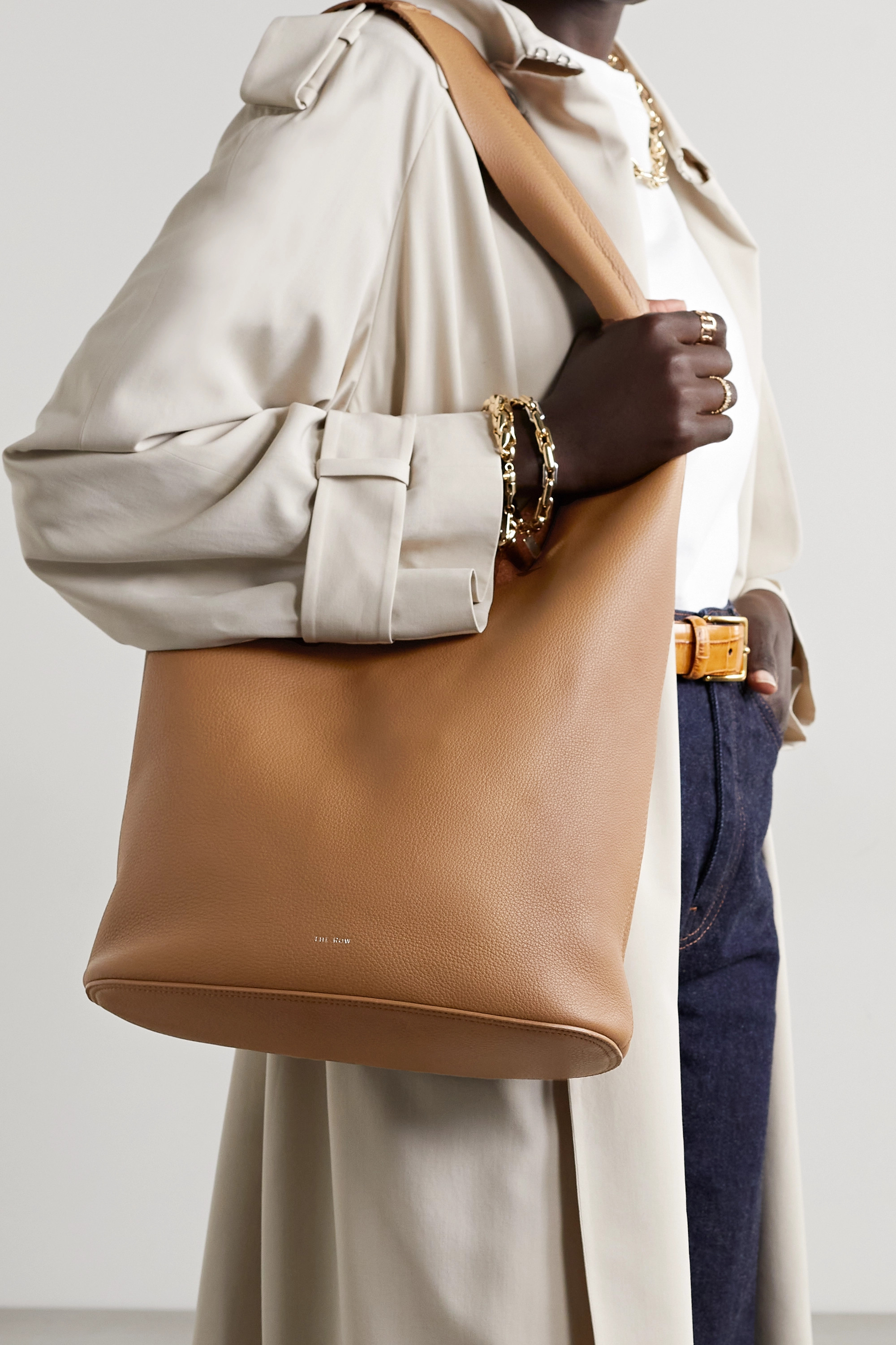 The Row Bindle Three textured-leather shoulder bag
