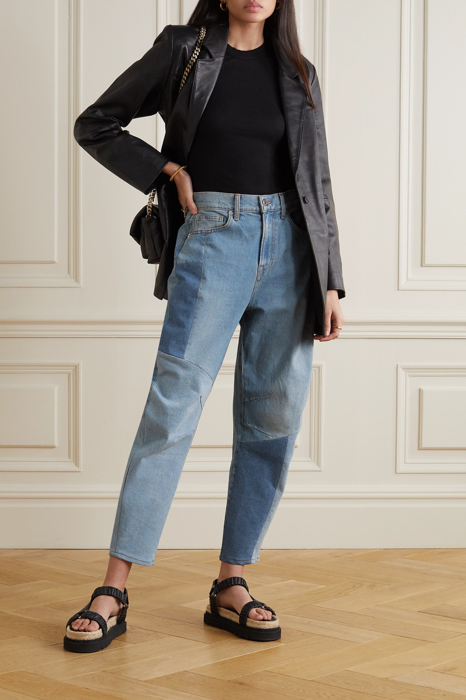 Veronica Beard Charlie patchwork high-rise tapered jeans