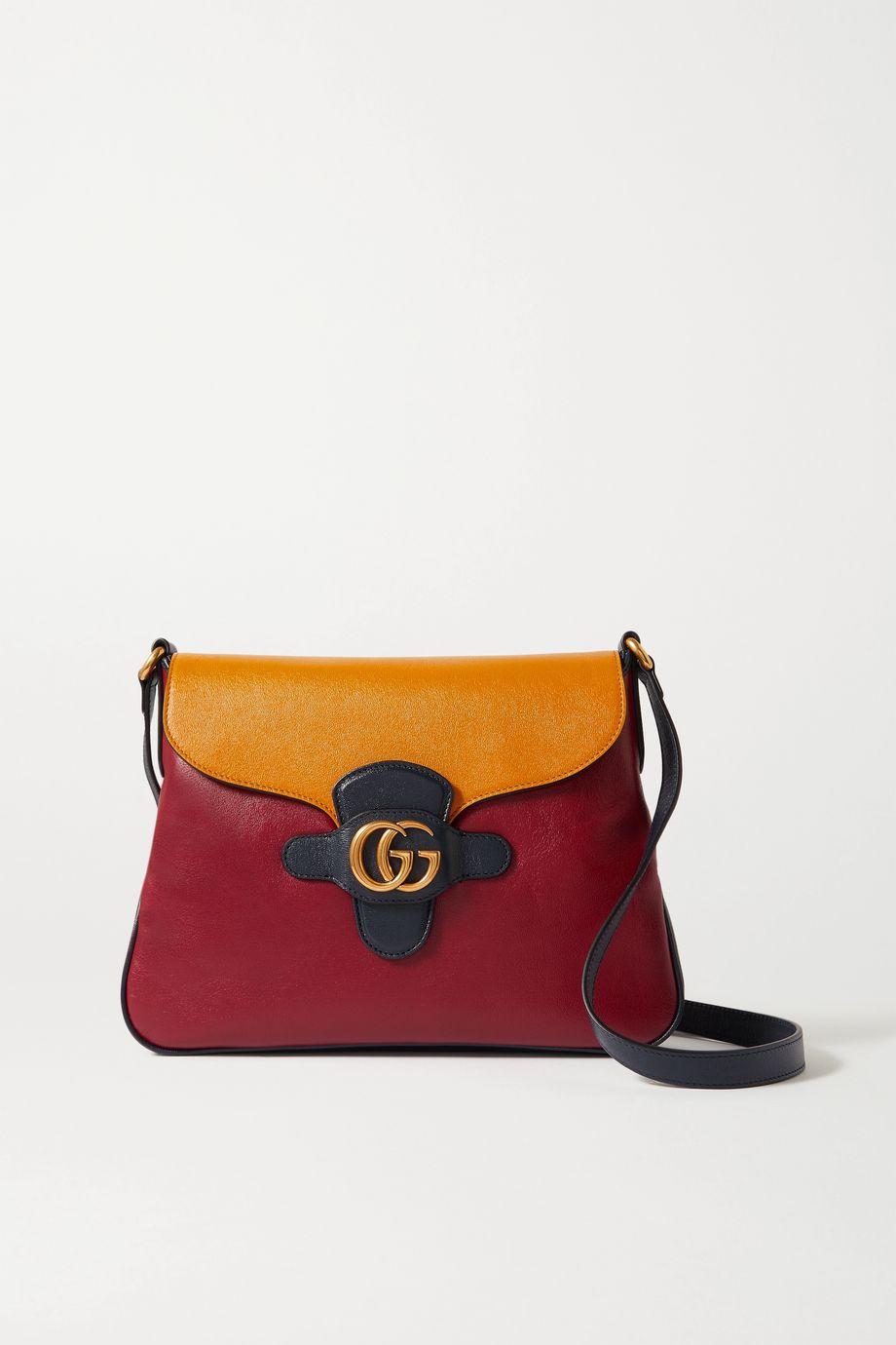 Gucci + NET SUSTAIN Dahlia mittelgroße Schultertasche aus Leder in Colour-Block-Optik