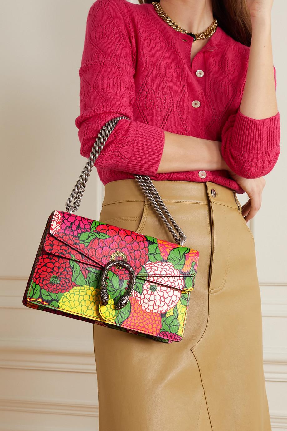 Gucci + Ken Scott Dionysus kleine Schultertasche aus Leder mit Blumenprint